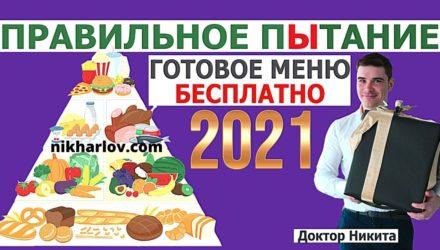 Правильное питание в 2021 году. Пример меню здорового рациона.